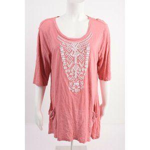 LOGO Lori Goldstein Womens Top Shirt L Pink S/S
